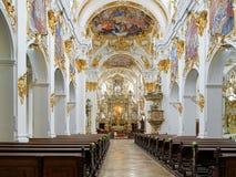 Interno di vecchia cappella a Regensburg, Germania Fotografie Stock