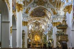 Interno di vecchia cappella, Regensburg, Germania Fotografie Stock