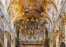 Interno di vecchia cappella, Regensburg, Germania Fotografia Stock