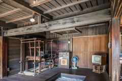 Interno di vecchia casa giapponese Fotografia Stock