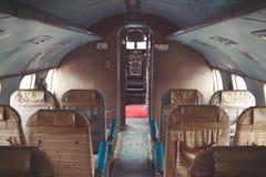 Interno di vecchio aereo Immagini Stock