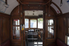 Interno di vecchio tram di /vintage Oporto - nel Portogallo immagine stock libera da diritti