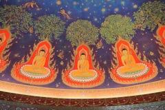 Interno di verniciatura di Buddhas in Wat Paknam, Tailandia Immagini Stock Libere da Diritti