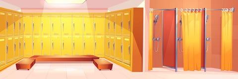 Interno di vettore del cartone della stanza di armadi del club di sport illustrazione di stock