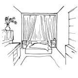Interno disegnato a mano della camera da letto dell'inchiostro di schizzo Immagine Stock Libera da Diritti