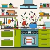Interno domestico della cucina Fotografie Stock