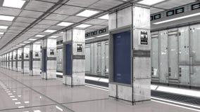 Interno e centro dati futuristici Fotografie Stock Libere da Diritti