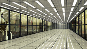 Interno e città futuristici del corridoio Fotografia Stock