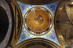 Interno e cupola della cattedrale santa del sepolcro, Gerusalemme fotografia stock