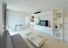 Interno e decorazione viventi moderni di lusso bianchi, DES interno Immagini Stock Libere da Diritti