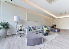 Interno e decorazione viventi moderni di lusso bianchi, DES interno Immagini Stock