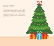 Interno festivo della stanza Albero di Natale, regali, ghirlanda e testo Progettazione piana Vettore bandiera Fotografie Stock Libere da Diritti