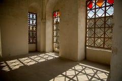 Interno, finestre, ombre Fortezza medievale nella città di Khotin Ucraina occidentale Fotografie Stock Libere da Diritti