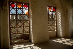 Interno, finestre, ombre Fortezza medievale nella città di Khotin Ucraina occidentale Fotografia Stock Libera da Diritti