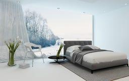 Interno fresco moderno della camera da letto che trascura un giardino illustrazione di stock
