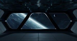 Interno futuristico dell'astronave con la vista su pianeta Terra illustrazione vettoriale