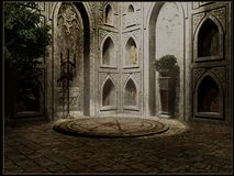 Interno gotico del tempio Fotografie Stock Libere da Diritti