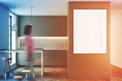 Interno grigio con una barra, manifesto della cucina tonificato Immagine Stock