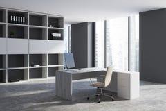 Interno grigio del posto di lavoro dell'ufficio Immagini Stock Libere da Diritti