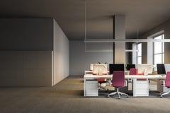 Interno grigio dell'ufficio open space, armadi illustrazione di stock