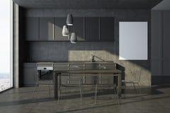 Interno grigio della cucina, manifesto, armadietti grigi Fotografia Stock