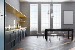 Interno grigio della cucina, manifesto, lato Fotografia Stock Libera da Diritti