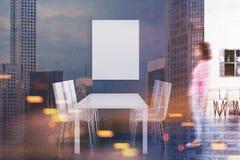 Interno grigio della sala da pranzo, manifesto tonificato Fotografia Stock Libera da Diritti