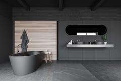 Interno grigio e di legno del bagno illustrazione vettoriale