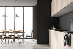Interno grigio moderno della sala da pranzo e della cucina del sottotetto royalty illustrazione gratis