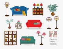 interno Insiemi del sofà ed accessori domestici royalty illustrazione gratis