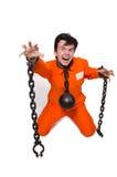 Interno joven con las cadenas aisladas Imagen de archivo libre de regalías