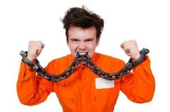 Interno joven con las cadenas aisladas Fotos de archivo libres de regalías