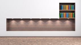 Interno luminoso con uno scaffale per i libri e gli accessori Immagini Stock Libere da Diritti
