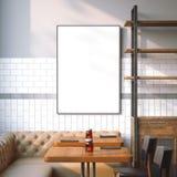 Interno luminoso del ristorante con tela bianca rappresentazione 3d Immagini Stock