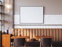 Interno luminoso del ristorante con tela in bianco rappresentazione 3d Immagine Stock