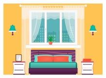 Interno luminoso della camera da letto con mobilia Concetto di progetto domestico illustrazione di stock