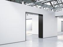 Interno luminoso della galleria del sottotetto con l'entrata rappresentazione 3d Fotografia Stock