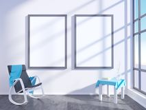 Interno luminoso moderno con la struttura vuota 3D che rende la stanza dell'illustrazione 3D, scandinavo, sofà, spazio, su, paret Fotografia Stock
