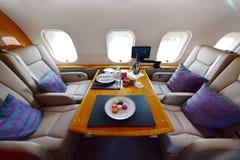 Interno lussuoso dell'aerotaxi globale 6000 del bombardiere a Singapore Airshow Fotografia Stock