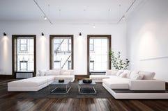 Interno minimalista moderno del salone del progettista Fotografie Stock Libere da Diritti