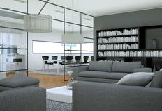 Interno minimalista moderno del salone nello stile di progettazione del sottotetto con i sofà Fotografia Stock