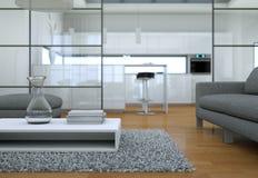 Interno minimalista moderno del salone nello stile di progettazione del sottotetto con i sofà Immagini Stock Libere da Diritti