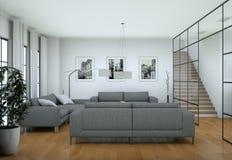 Interno minimalista moderno del salone nello stile di progettazione del sottotetto con i sofà Fotografia Stock Libera da Diritti