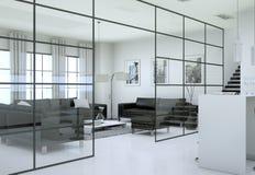 Interno minimalista moderno del salone nello stile di progettazione del sottotetto con i sofà Immagine Stock Libera da Diritti