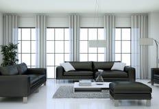 Interno minimalista moderno del salone nello stile di progettazione del sottotetto con i sofà Immagini Stock