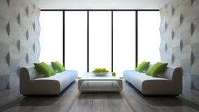 Interno moderno con due sofà e pannelli di muro di cemento Immagini Stock