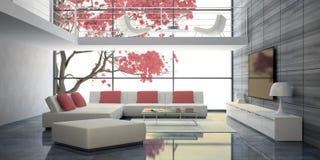 Interno moderno con i sofà bianchi ed i cuscini rosa Immagini Stock