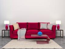 Interno moderno con il letto rosa illustrazione 3D illustrazione di stock