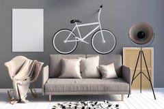 Interno moderno con il sofà e la sedia illustrazione vettoriale