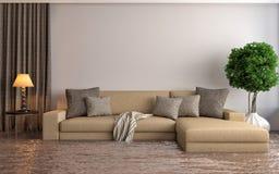 Interno moderno con il sofà sotto l'acqua illustrazione 3D illustrazione di stock